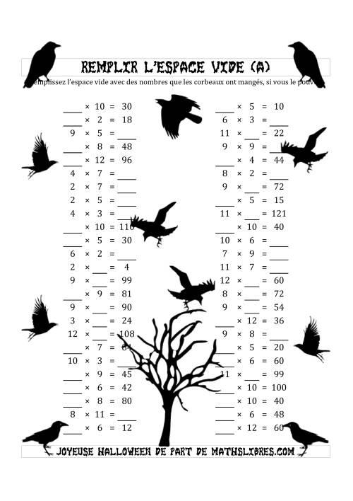 La Remplir l'Espace Vide (Multiplication avec des Nombres dans l'intervale de 2 à 12) (A) Fiche d'Exercices pour l'Halloween