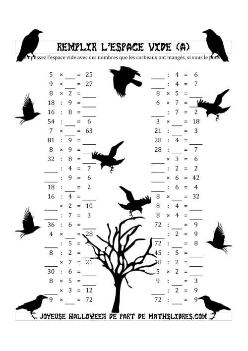 La Remplir l'Espace Vide (Multiplication & Division avec des Nombres dans l'intervale de 2 à 9) (A) Fiche d'Exercices pour l'Halloween