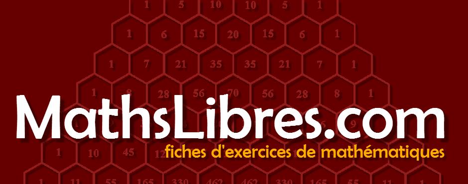 Rechercher la vaste libairie de MathsLibres.com de plus de 37 000 fiches d'exercices de mathématiques.