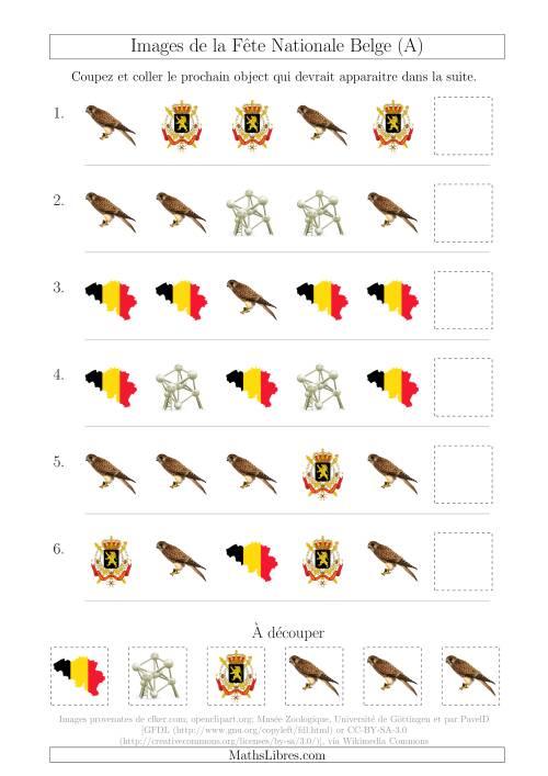 La Images de la Fête Nationale Belge avec Une Seule Particularité (Forme) (A) Fiche d'Exercices sur les Jours Fériés