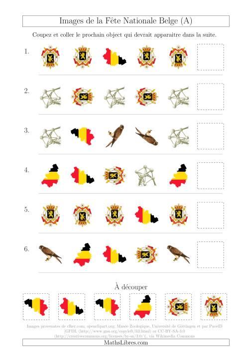 La Images de la Fête Nationale Belge avec Deux Particularités (Forme & Rotation) (A) Fiche d'Exercices sur les Jours Fériés
