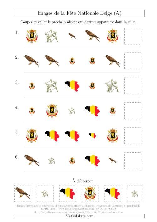 La Images de la Fête Nationale Belge avec Deux Particularités (Forme & Taille) (A) Fiche d'Exercices sur les Jours Fériés