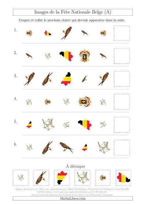 La Images de la Fête Nationale Belge avec Trois Particularités (Forme, Taille & Rotation) (A) Fiche d'Exercices sur les Jours Fériés
