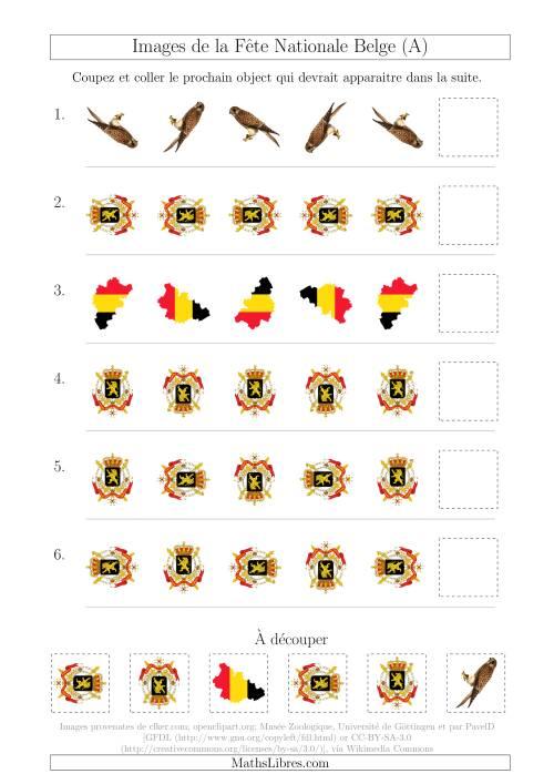 La Images de la Fête Nationale Belge avec Une Seule Particularité (Rotation) (A) Fiche d'Exercices sur les Jours Fériés