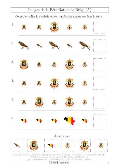 La Images de la Fête Nationale Belge avec Une Seule Particularité (Taille) (A) Fiche d'Exercices sur les Jours Fériés