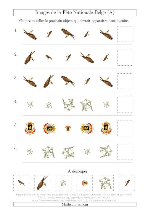 La Images de la Fête Nationale Belge avec Deux Particularités (Taille & Rotation) (A) Fiche d'Exercices sur les Jours Fériés