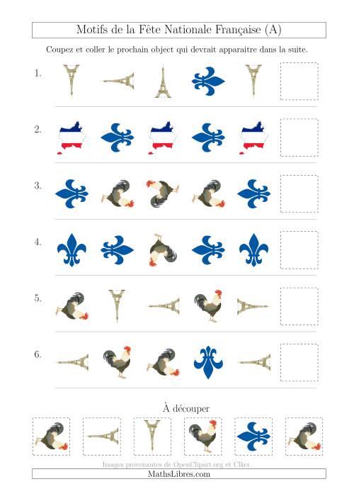 La Images de la Fête Nationale Française avec Deux Particularités (Forme & Rotation) (A) Fiche d'Exercices sur les Jours Fériés