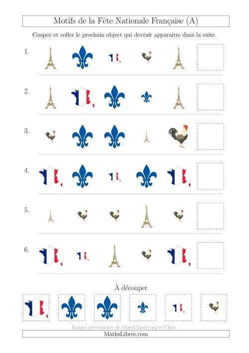 La Images de la Fête Nationale Française avec Deux Particularités (Forme & Taille) (A) Fiche d'Exercices sur les Jours Fériés