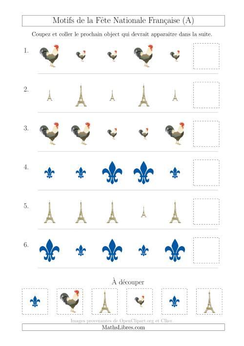 La Images de la Fête Nationale Française avec Une Seule Particularité (Taille) (A) Fiche d'Exercices sur les Jours Fériés