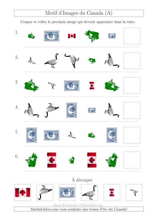 La Motif d'Images du Canada avec Comme Attributs Forme, Taille et Rotation (A) Fiche d'Exercices sur les Jours Fériés