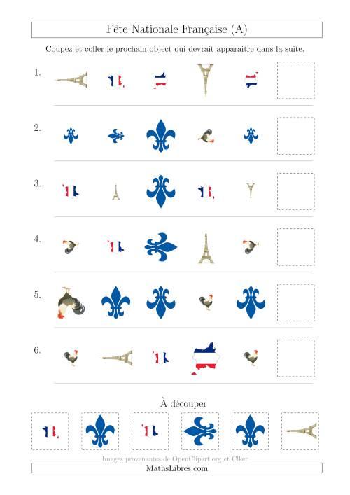 La Images de la Fête Nationale Française avec Trois Particularités (Forme, Taille & Rotation) (A) Fiche d'Exercices sur les Jours Fériés