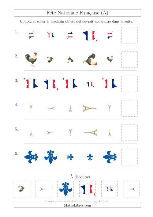 La Images de la Fête Nationale Française avec Deux Particularités (Taille & Rotation) (A) Fiche d'Exercices sur les Jours Fériés