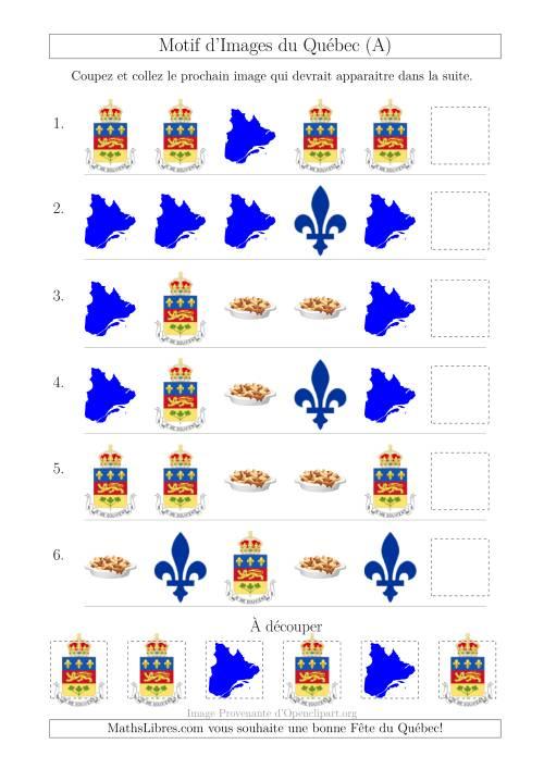 La Motif d'Images du Québec avec Comme Attribut la Forme (A) Fiche d'Exercices sur les Jours Fériés