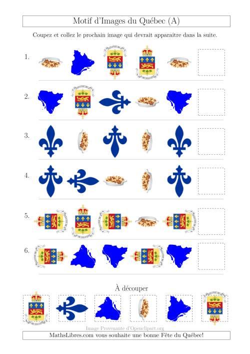 La Motif d'Images du Québec avec Comme Attribut Forme et Rotation (A) Fiche d'Exercices sur les Jours Fériés