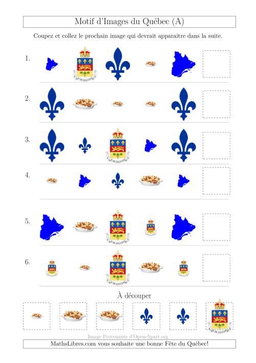 La Motif d'Images du Québec avec Comme Attribut Forme et Taille (A) Fiche d'Exercices sur les Jours Fériés