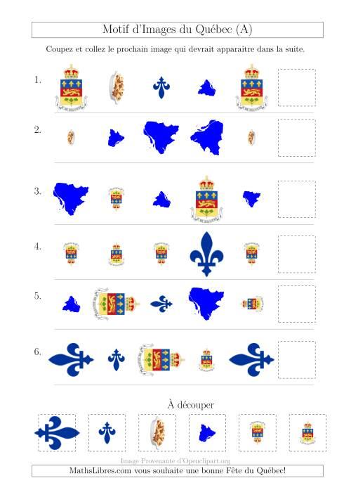 La Motif d'Images du Québec avec Comme Attribut Forme, Taille et Rotation (A) Fiche d'Exercices sur les Jours Fériés