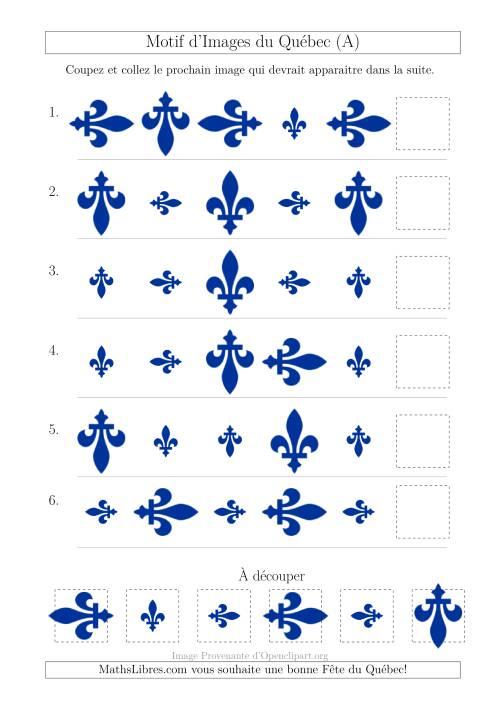 La Motif d'Images du Québec avec Comme Attribut Taille et Rotation (A) Fiche d'Exercices sur les Jours Fériés