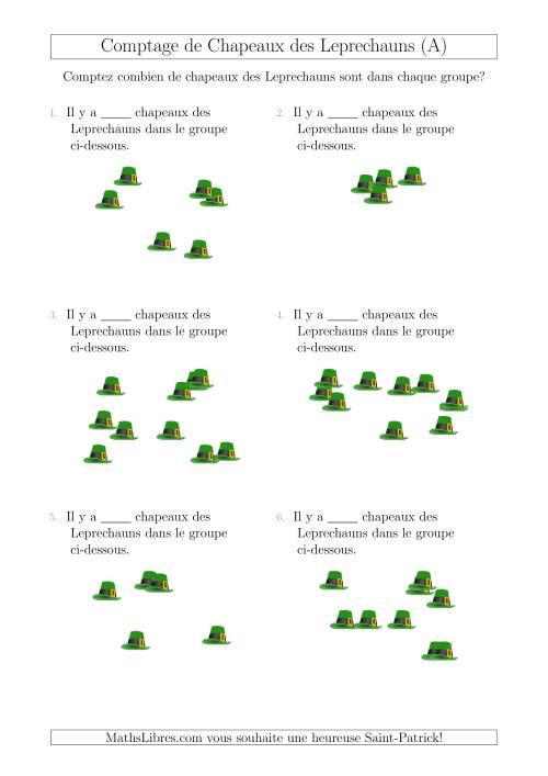 La Comptage Jusqu'à 10 Chapeaux des Leprechauns Arrangés en Forme Dispersée (A) Fiche d'Exercices pour la Saint Patrick