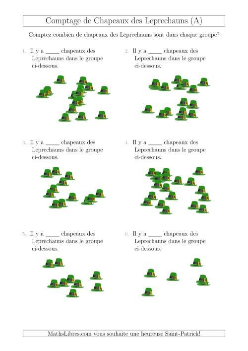 La Comptage Jusqu'à 20 Chapeaux des Leprechauns Arrangés en Forme Dispersée (A) Fiche d'Exercices pour la Saint Patrick