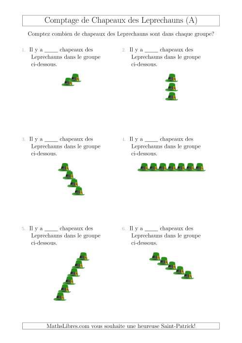 La Comptage de Chapeaux des Leprechauns Arrangés en Forme Linéaire (A) Fiche d'Exercices pour la Saint Patrick