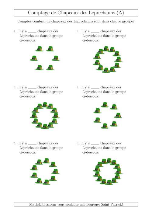 La Comptage de Chapeaux des Leprechauns Arrangés en Forme Circulaire (A) Fiche d'Exercices pour la Saint Patrick