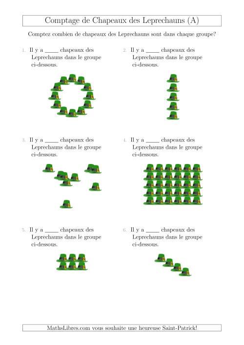 La Comptage des Chapeaux des Leprechauns Arrangés en Formes Diverses (A) Fiche d'Exercices pour la Saint Patrick