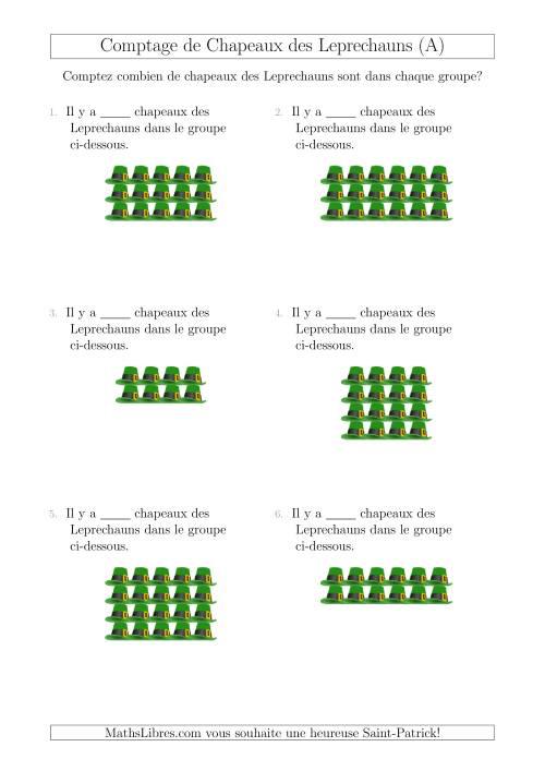 La Comptage de Chapeaux des Leprechauns Arrangés en Forme Rectangulaire (A) Fiche d'Exercices pour la Saint Patrick