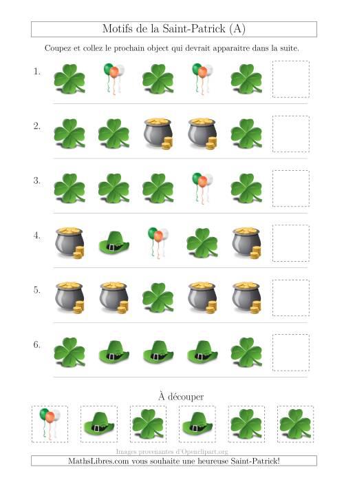 La Motif d'Images de la Saint-Patrick avec la Forme Comme Attribut Seulement (A) Fiche d'Exercices pour la Saint Patrick