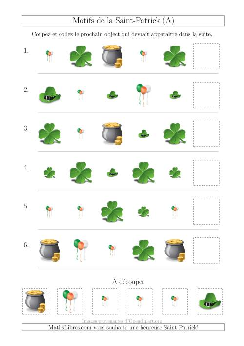La Motif d'Images de la Saint-Patrick avec la Forme et la Taille Comme Attributs (A) Fiche d'Exercices pour la Saint Patrick