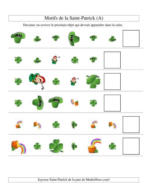La Motifs de la Saint Patrick avec Trois Particularités (forme, taille & forme) (A) Fiche d'Exercices des Maths pour la Saint Patrick