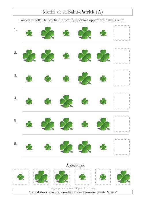 La Motif d'Images de la Saint-Patrick avec la Taille Comme Attribut Seulement (A) Fiche d'Exercices pour la Saint Patrick