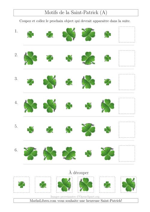 La Motif d'Images de la Saint-Patrick avec la Taille et la Rotation Comme Attributs (A) Fiche d'Exercices pour la Saint Patrick