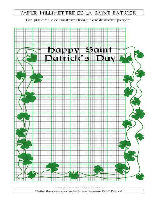 La Papier Milliméttré de la Saint-Patrick Avec une Bordure Fantaisie (2,5/0,5 cm) (A) Fiche d'Exercices pour la Saint Patrick