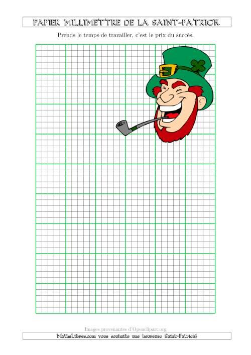 La Papier Milliméttré de la Saint-Patrick Avec un Thème de Leprechaun (2,5/0,5 cm) (A) Fiche d'Exercices pour la Saint Patrick
