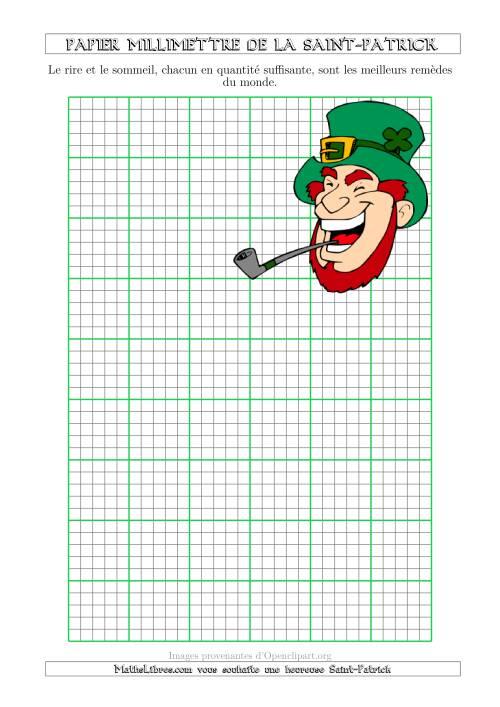 La Papier Milliméttré de la Saint-Patrick Avec un Thème de Leprechaun (5 Lignes par Pouce) (A) Fiche d'Exercices pour la Saint Patrick