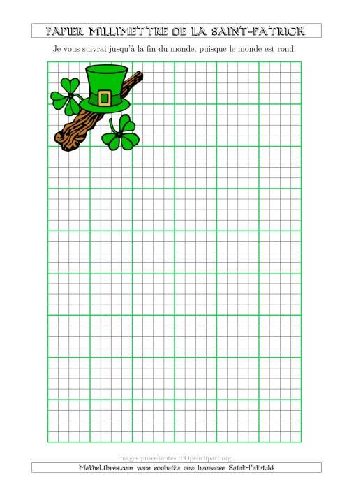 La Papier Milliméttré de la Saint-Patrick Avec un Thème de Shillelagh (1/4 Pouce) (A) Fiche d'Exercices pour la Saint Patrick
