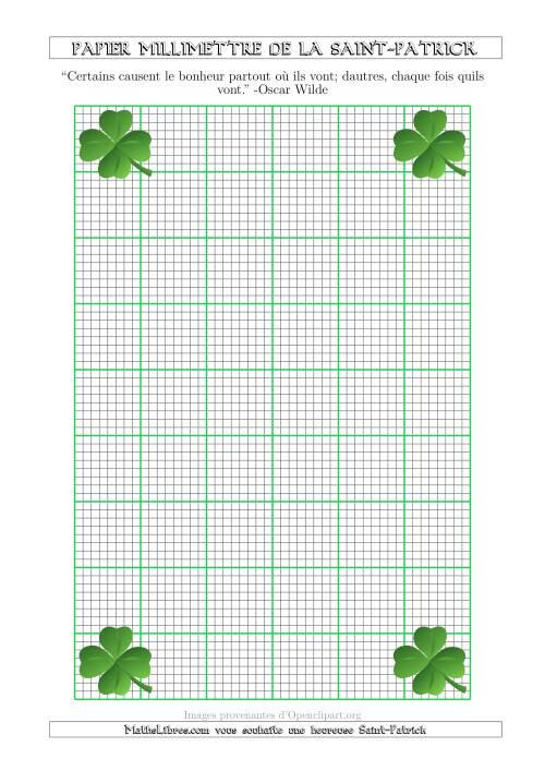 La Papier Milliméttré de la Saint-Patrick Avec un Thème de Trefle (1/8 Pouce) (A) Fiche d'Exercices pour la Saint Patrick