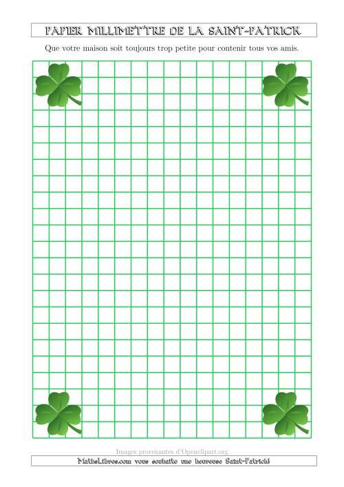 La Papier Milliméttré de la Saint-Patrick Avec un Thème de Trefle (1 cm) (A) Fiche d'Exercices pour la Saint Patrick