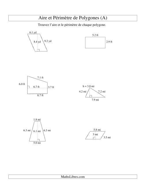 La Aire et périmètre de formes variées (jusqu'à 1 décimale; variation 1-9) (A) Fiche d'Exercices sur la Mesure