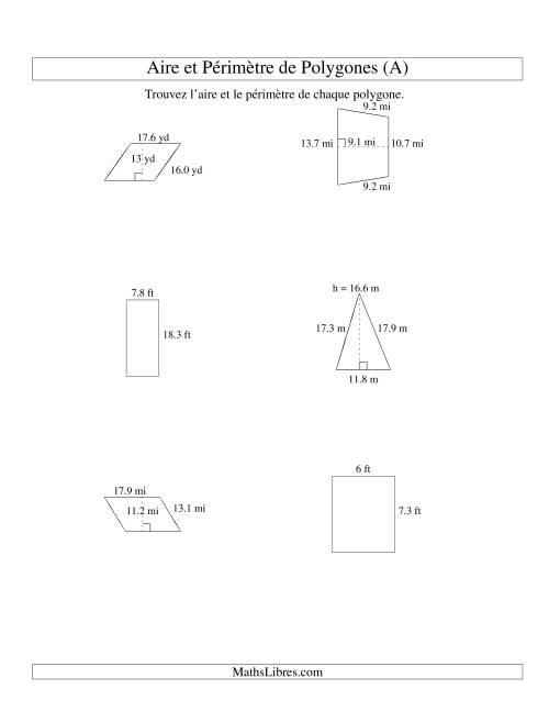 La Aire et périmètre de formes variées (jusqu'à 1 décimale; variation 5-20) (A) Fiche d'Exercices sur la Mesure