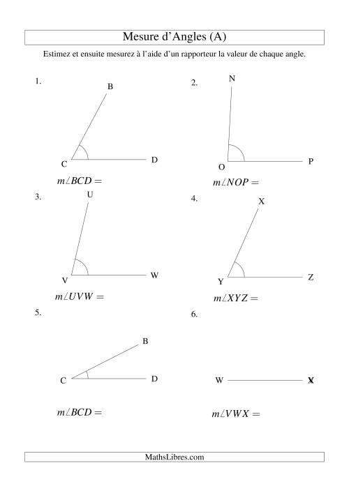 La Mesure d'angles entre 0° et 90° (A) Fiche d'Exercices sur la Mesure
