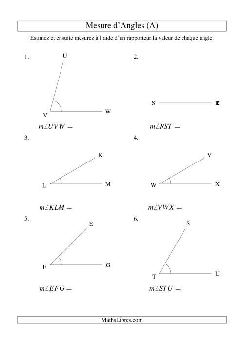 La Mesure d'angles entre 0° et 90° (intervalles de 15°) (A) Fiche d'Exercices sur la Mesure