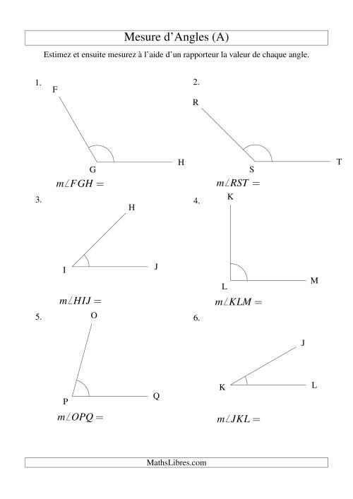 La Mesure d'angles entre 0° et 180° (intervalles de 15°) (A) Fiche d'Exercices sur la Mesure