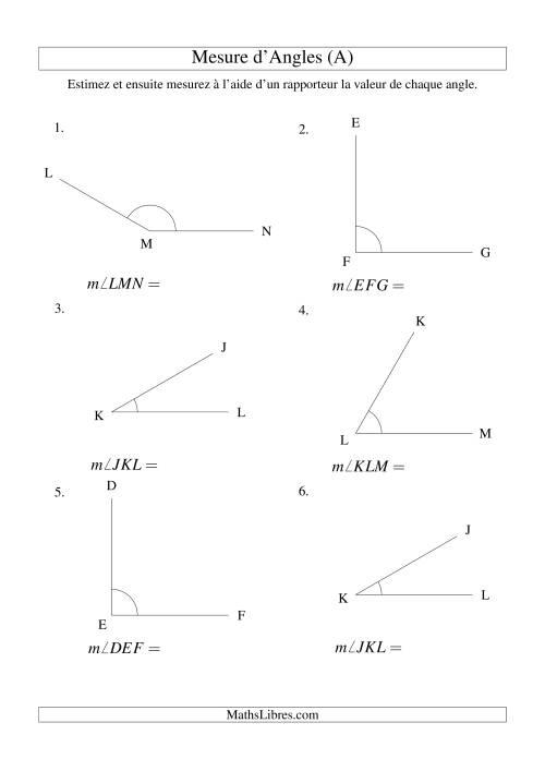 La Mesure d'angles entre 0° et 180° (intervalles de 30°) (A) Fiche d'Exercices sur la Mesure