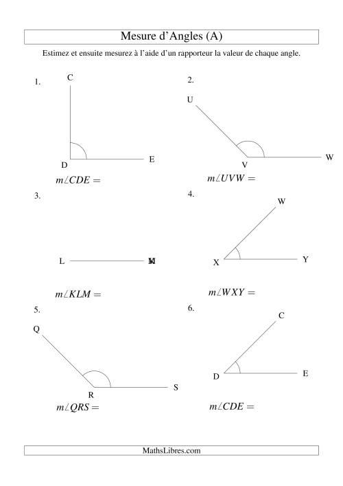 La Mesure d'angles entre 0° et 180° (intervalles de 45°) (A) Fiche d'Exercices sur la Mesure