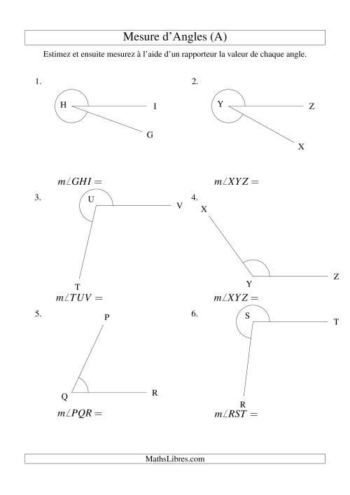 La Mesure d'angles entre 0° et 360° (A) Fiche d'Exercices sur la Mesure