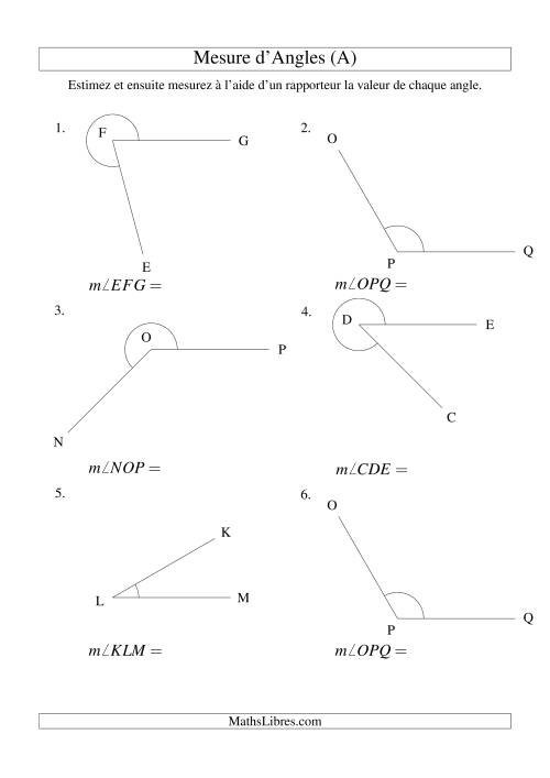 La Mesure d'angles entre 0° et 360° (intervalles de 15°) (A) Fiche d'Exercices sur la Mesure