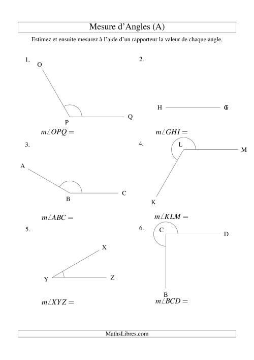 La Mesure d'angles entre 0° et 360° (intervalles de 30°) (A) Fiche d'Exercices sur la Mesure
