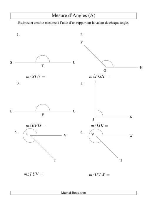 La Mesure d'angles entre 0° et 360° (intervalles de 45°) (A) Fiche d'Exercices sur la Mesure