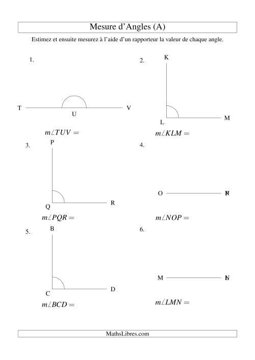 La Mesure d'angles entre 0° et 360° (intervalles de 90°) (A) Fiche d'Exercices sur la Mesure